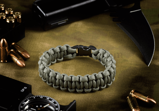 Paracord Bracelet Compact Grey (Invader Gear)